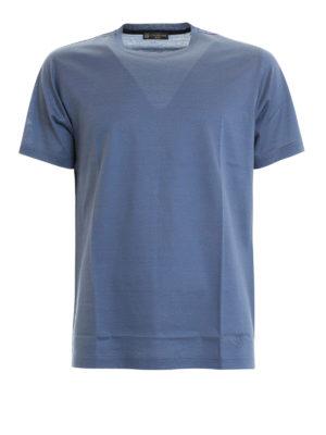 CORNELIANI: t-shirt - T-shirt blu chiaro in cotone