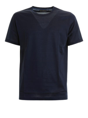 CORNELIANI: t-shirt - T-shirt blu navy in cotone