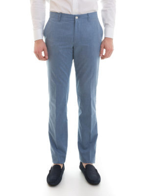 Corneliani: Tailored & Formal trousers online - Fresh cotton tailored trousers