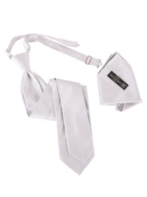 Corneliani: ties & bow ties - Grey silk tie and pocket square