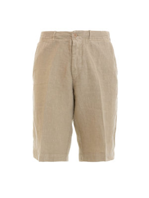 Corneliani: Trousers Shorts - Beige linen short trousers