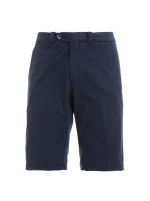 CORNELIANI: pantaloni shorts - Bermuda blu in gabardina di cotone