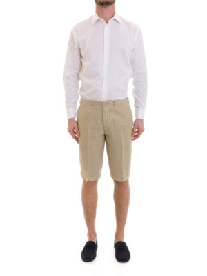 Corneliani: Trousers Shorts online - Beige linen short trousers