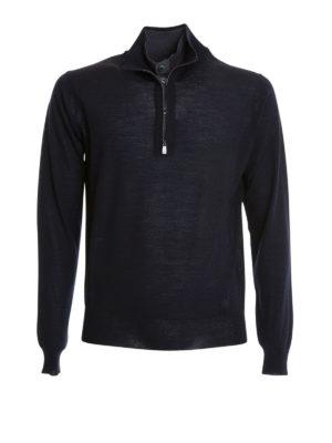 Corneliani: Turtlenecks & Polo necks - Button and zip wool turtleneck