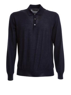 Corneliani: Turtlenecks & Polo necks - Long sleeves silk blend polo shirt