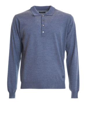 Corneliani: Turtlenecks & Polo necks - Long sleeves wool polo shirt