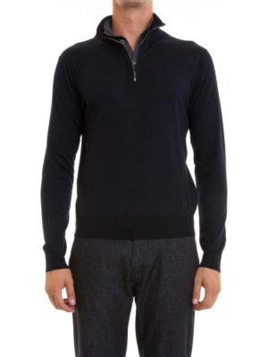 Corneliani: Turtlenecks & Polo necks online - Button and zip wool turtleneck