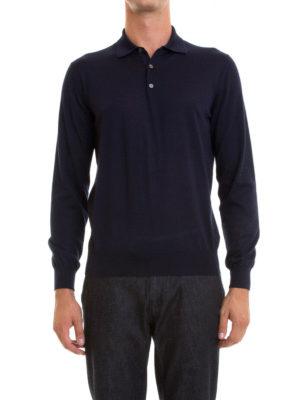 Corneliani: Turtlenecks & Polo necks online - Long sleeves silk blend polo shirt