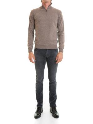 Corneliani: Turtlenecks & Polo necks online - Wool and cashmere zip turtleneck