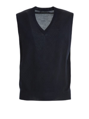 Corneliani: v necks - Argyle blue wool sleeveless sweater