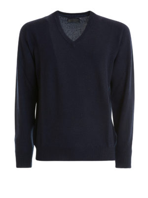 Corneliani: v necks - Blue cashmere V-neck sweater