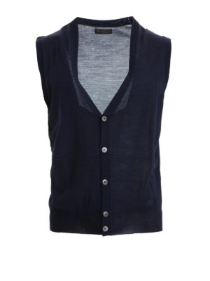 Corneliani: waistcoats & gilets - Blue knitted wool vest