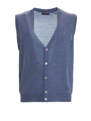 Corneliani: waistcoats & gilets - Light blue knitted wool vest