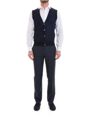 Corneliani: waistcoats & gilets online - Blue knitted wool vest