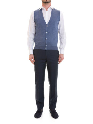 Corneliani: waistcoats & gilets online - Light blue knitted wool vest