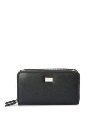 Corneliani: wallets & purses - Double zip leather wallet