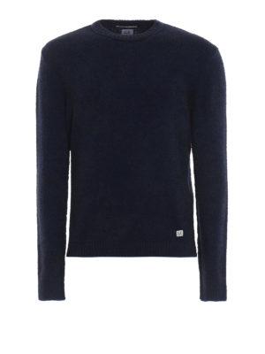 CP COMPANY: maglia collo rotondo - Girocollo blu scuro mélange in misto lana