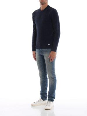 CP COMPANY: maglia collo rotondo online - Girocollo blu scuro mélange in misto lana