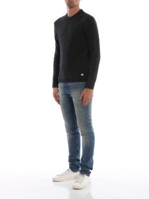 CP COMPANY: maglia collo rotondo online - Girocollo verde mélange in misto lana