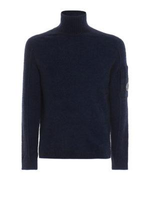 CP COMPANY: maglia a collo alto e polo - Lupetto Lens blu scuro in misto lana