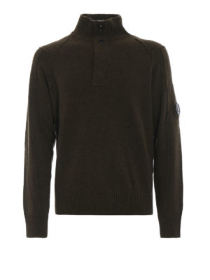 CP COMPANY: maglia a collo alto e polo - Pullover verde con logo sulla manica