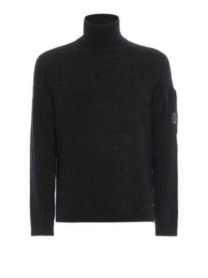 CP COMPANY: maglia a collo alto e polo - Lupetto Lens verde mélange in misto lana