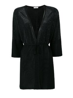 Cruciani: cardigans - Black lurex viscose yarn cardigan
