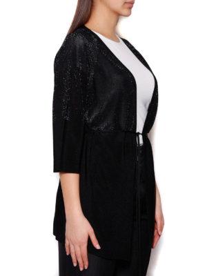 Cruciani: cardigans online - Black lurex viscose yarn cardigan