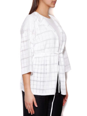 Cruciani: cardigans online - White check cotton blend cardigan