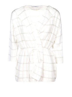 Cruciani: cardigans - White check cotton blend cardigan