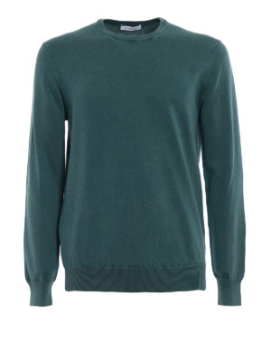 Cruciani: crew necks - Kale green cotton sweater