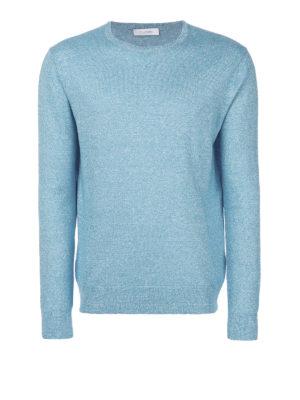 Cruciani: crew necks - Light blue linen and wool sweater