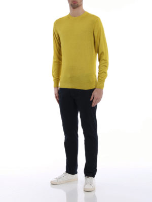 Cruciani: crew necks online - Cashmere and silk yellow pullover