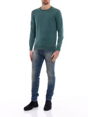 Cruciani: crew necks online - Kale green cotton sweater