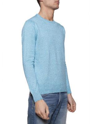 Cruciani: crew necks online - Light blue linen and wool sweater