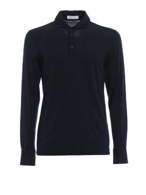 Cruciani: polo shirts - Long sleeve blue polo shirt