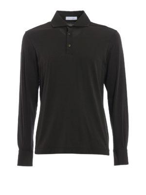 Cruciani: polo shirts - Long sleeve green polo shirt
