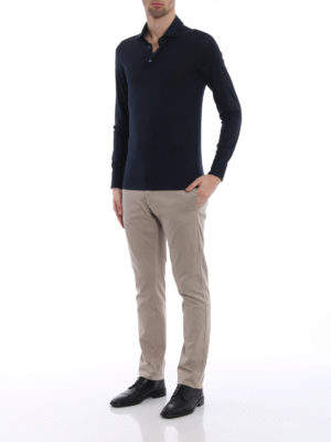 Cruciani: polo shirts online - Long sleeve blue polo shirt