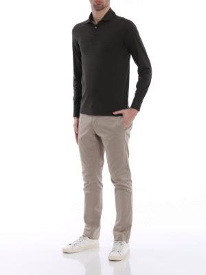 Cruciani: polo shirts online - Long sleeve green polo shirt