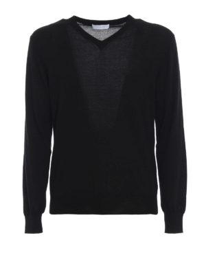 CRUCIANI: maglia collo a v - Pullover a V in cashmere e seta nero