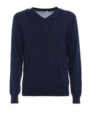 CRUCIANI: maglia collo a v - Pullover a V in cashmere e seta blu