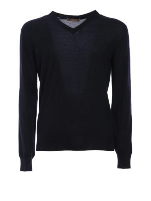 Cruciani: v necks - Cashmere and silk blend sweater