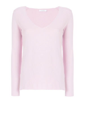 Cruciani: v necks - Cotton V-neck sweater with slits