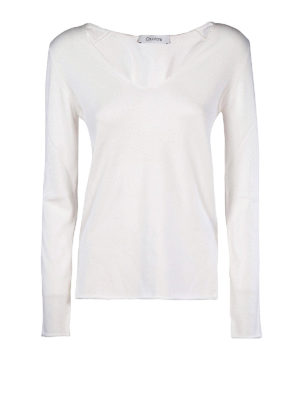 Cruciani: v necks - Cotton V-neck sweater with vents