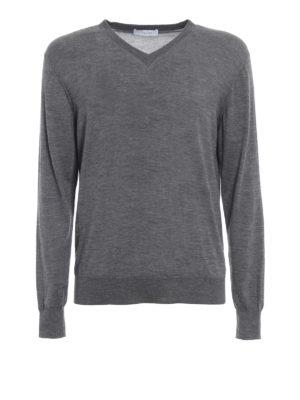 CRUCIANI: maglia collo a v - Pullover a V in cashmere e seta grigio