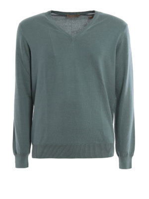 Cruciani: v necks - Lightweight cotton V neck pullover