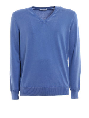 Cruciani: v necks - Niagara blue cotton sweater