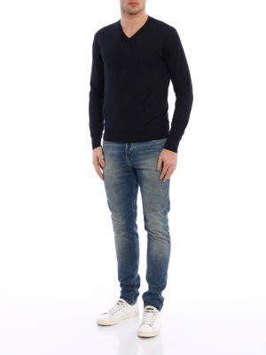 Cruciani: v necks online - Cashmere and silk blend sweater