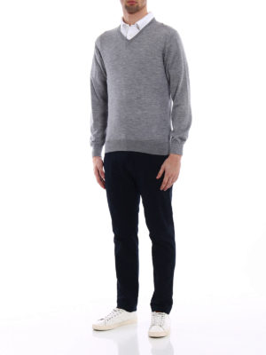 Cruciani: v necks online - Cashmere and silk grey V-pullover