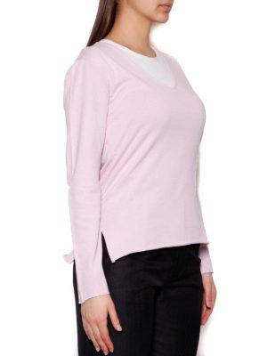 Cruciani: v necks online - Cotton V-neck sweater with slits